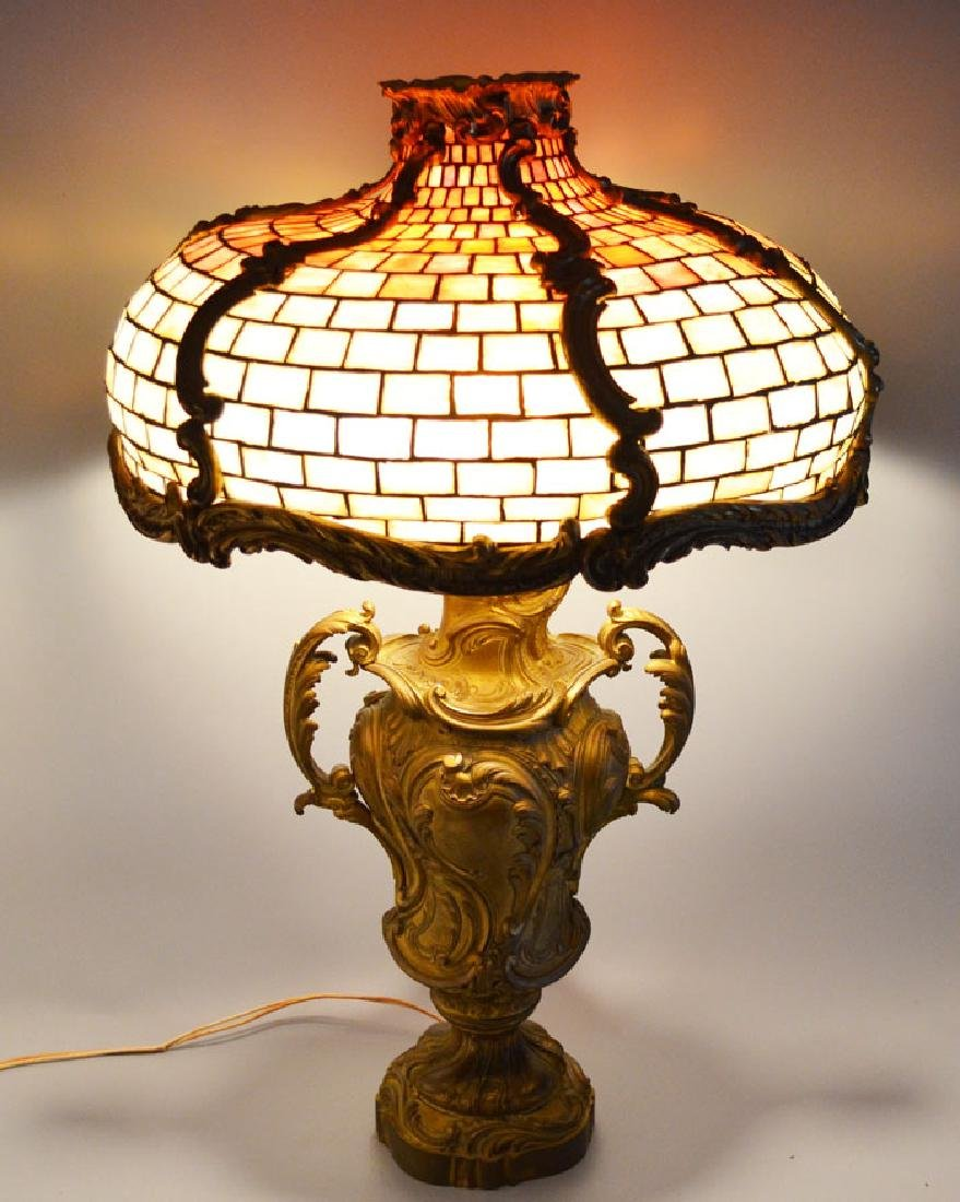 French Bronze Leaded Glass Table Lamp - 3