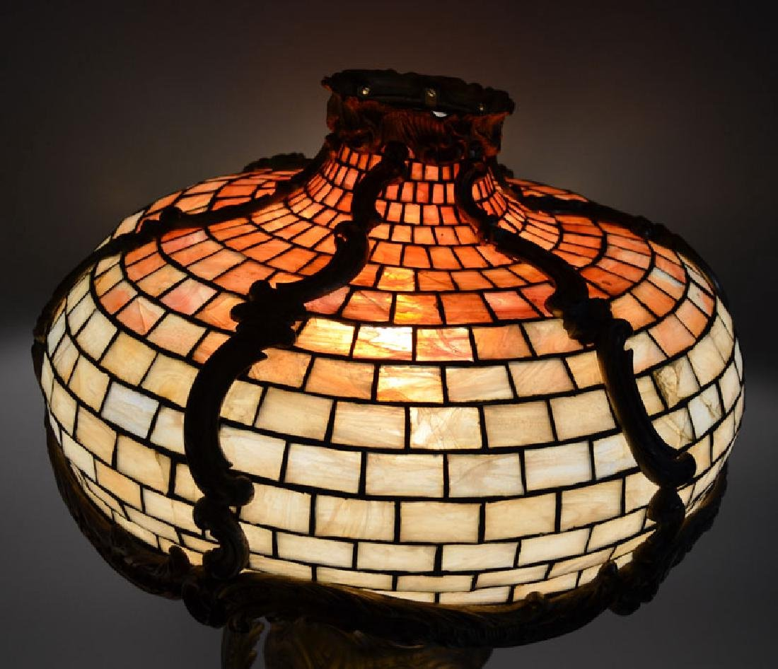 French Bronze Leaded Glass Table Lamp - 4
