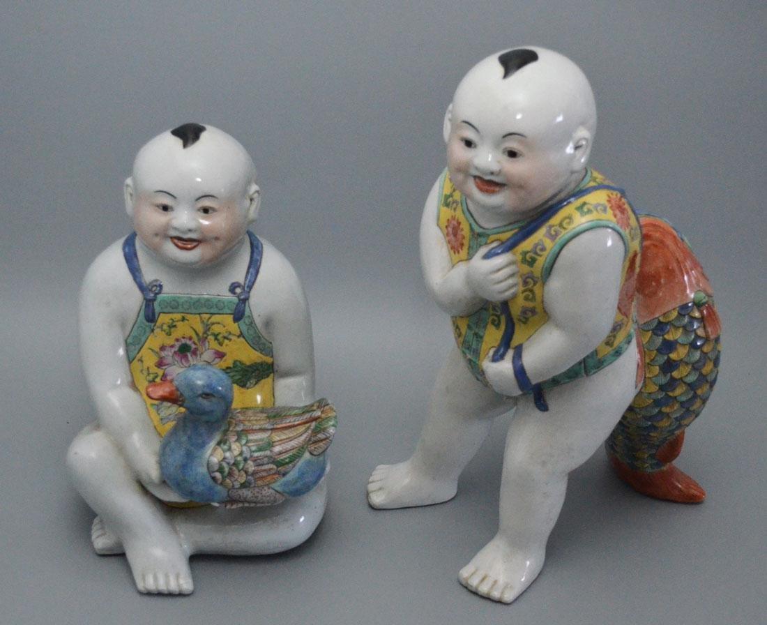 2 Chinese Porcelain Children Figures