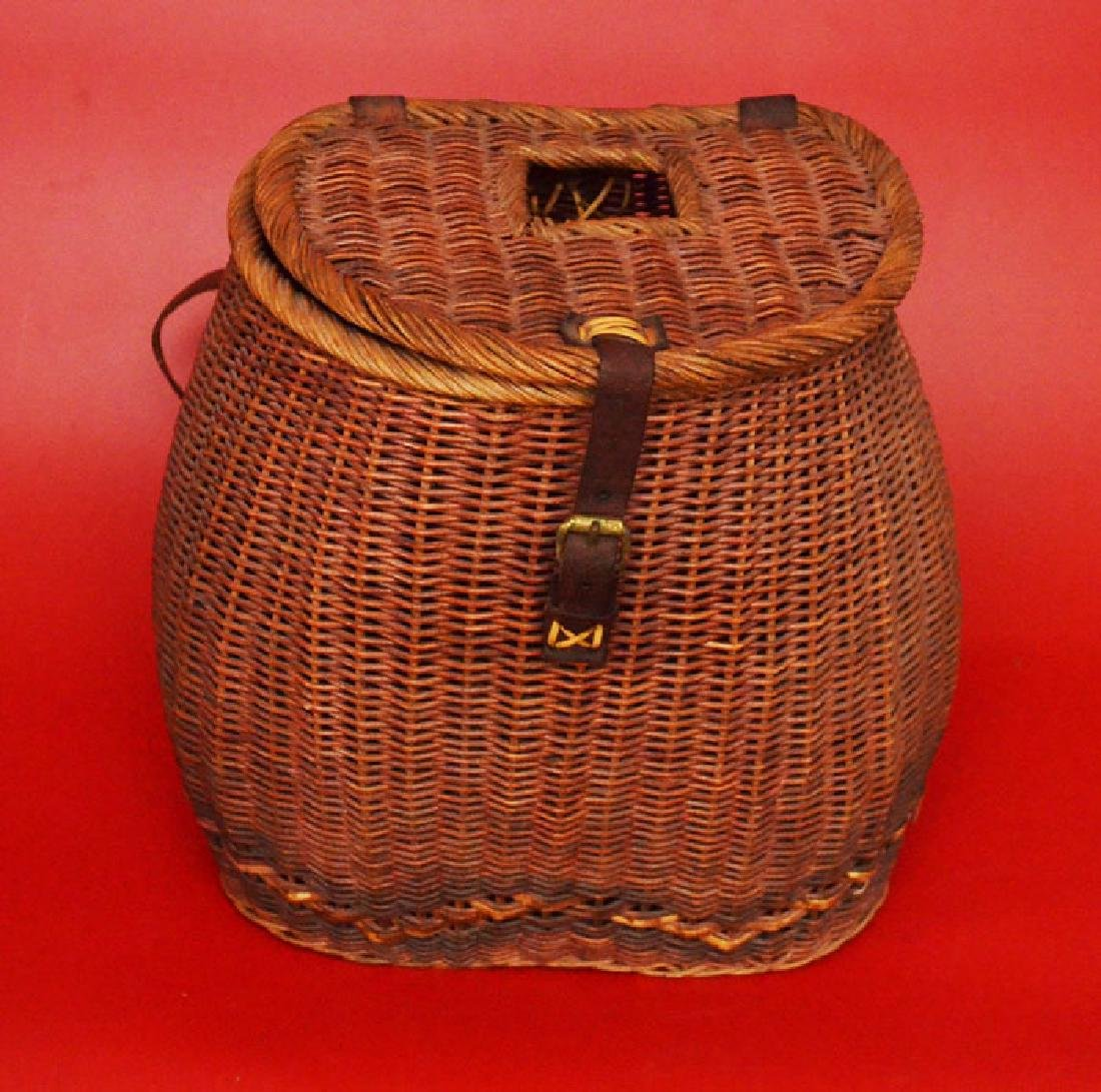 Tightly Reed Woven Creel / Fishing Basket
