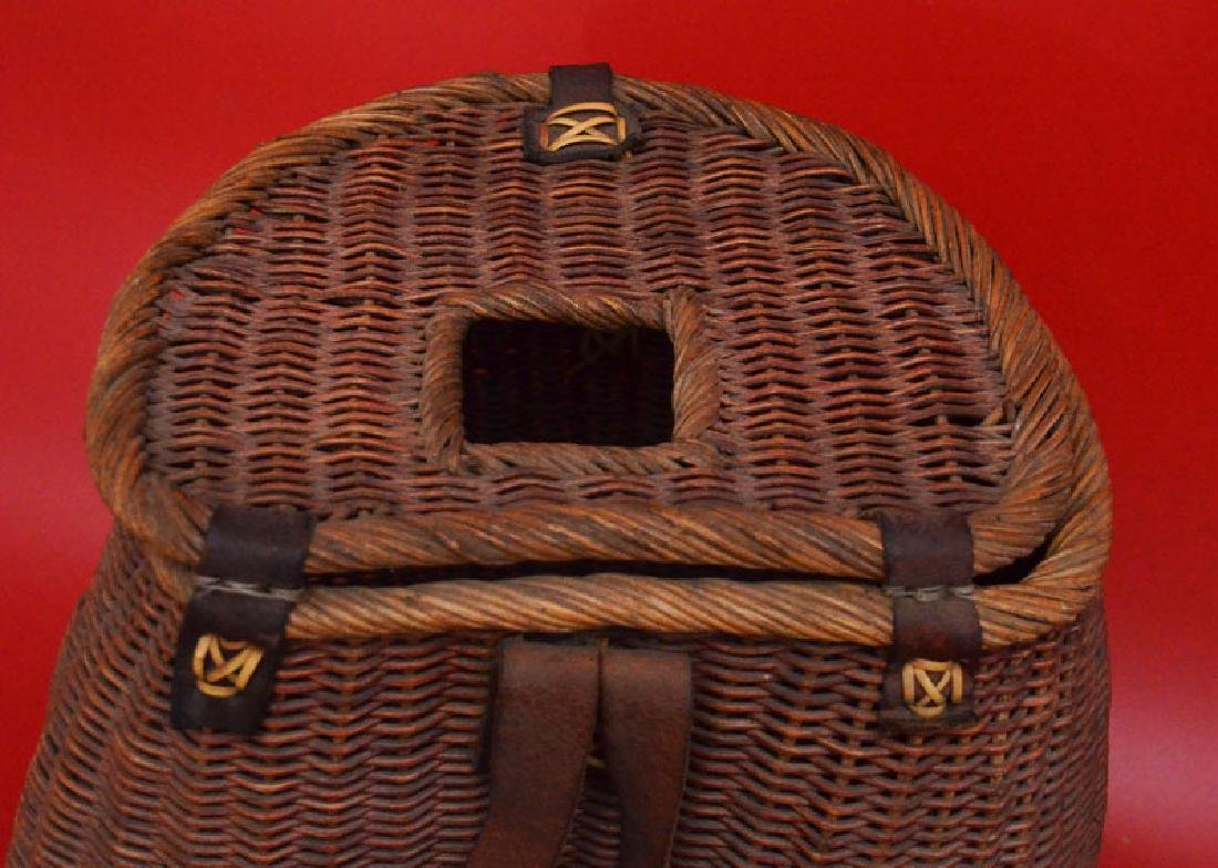Tightly Reed Woven Creel / Fishing Basket - 4