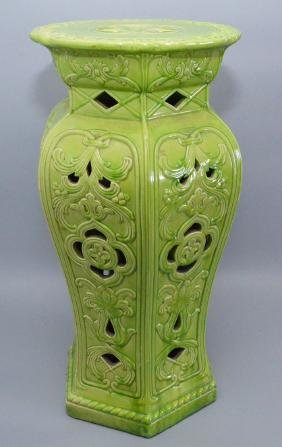 Green Pottery Plant Stand