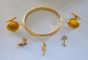 Lot of Vintage 14k Gold Jewelry (Bangle, Charms)