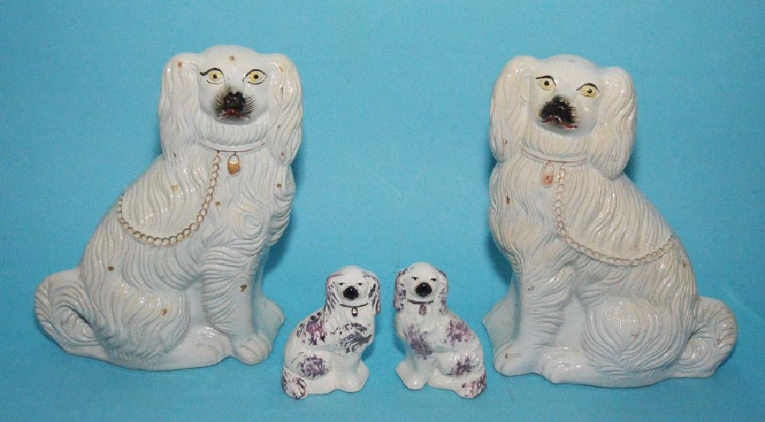 2 Pairs of Staffordshire Porcelain Dogs