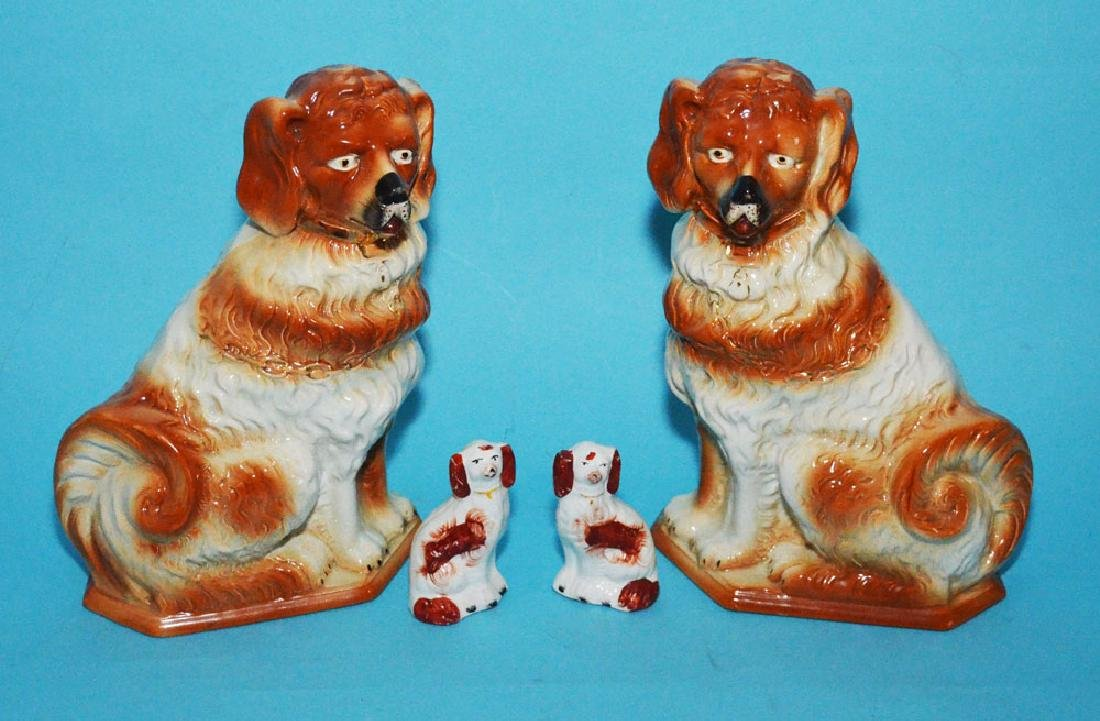 2 Prs Of Vintage Staffordshire Dogs