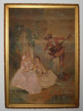 Classical  Victorian  Painting On Burlap
