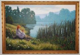 Large O/C Signed  Woman By A Lake Robert Pennor