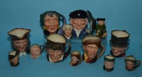 Lot Of 13  Vintage Toby Mugs ( Royal Doulton )