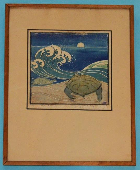 Anna Heyward Taylor Colored  Sea Turtles Woodblock