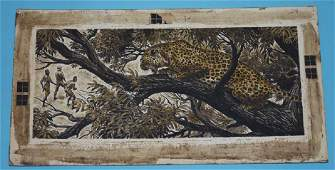 Signed Bob Kuhn Leopard Illustration Gouache