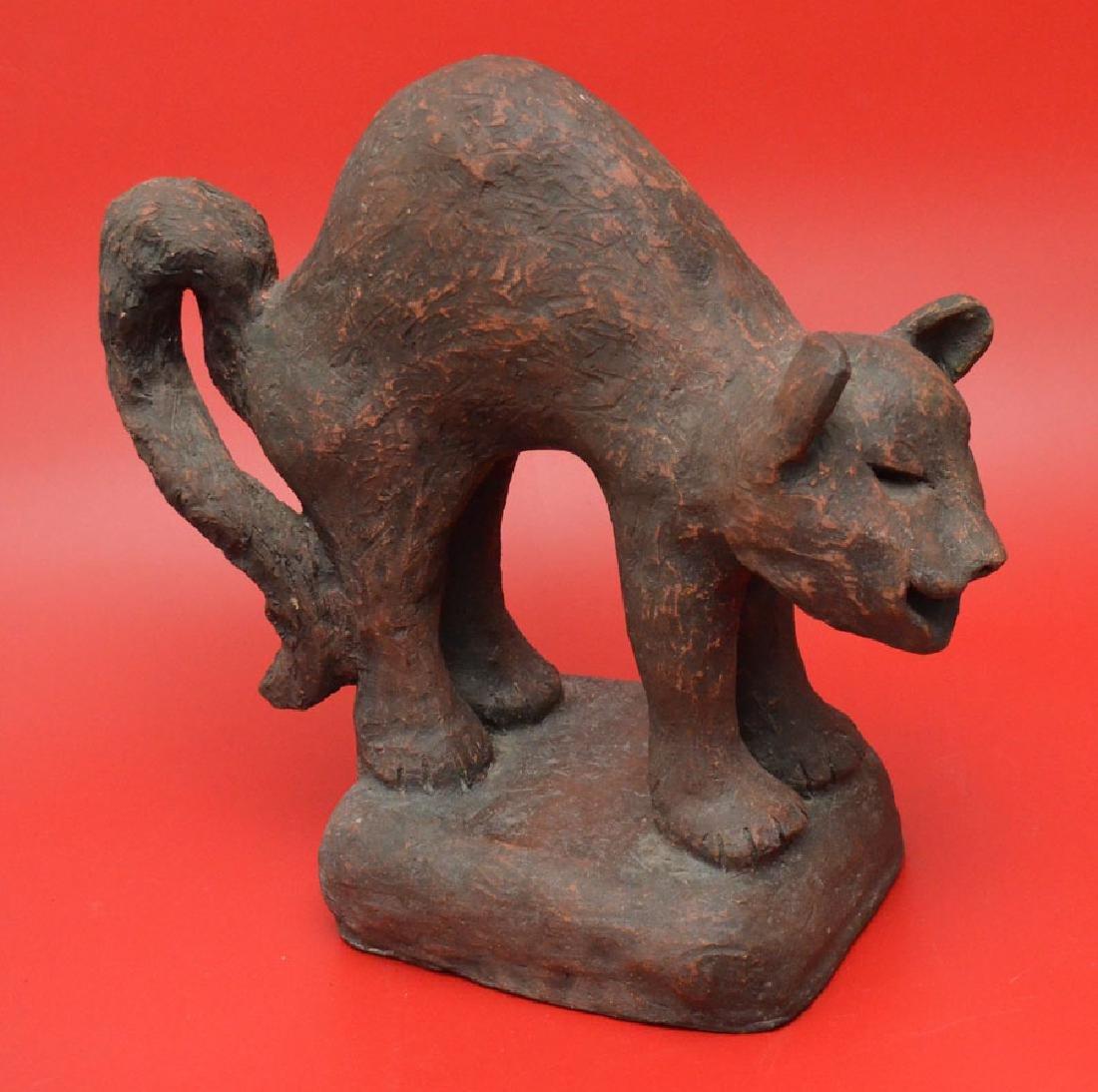 Wonderful Studio Art Terra Cotta Cat Sculpture