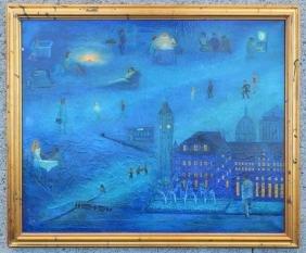 Large Dream like Cityscape O/C Painting  Signed E.V.C.