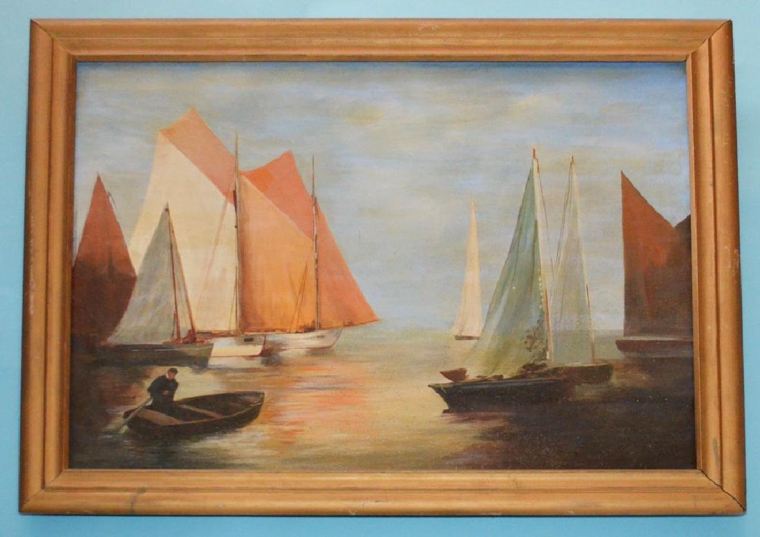 Wonderful Mid Century OC Painting Of Sailboats
