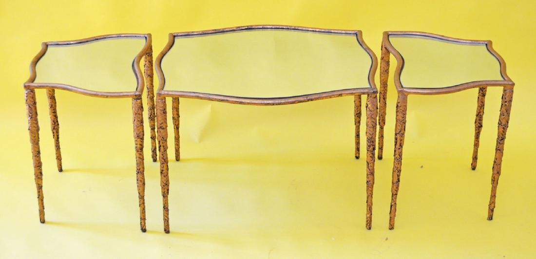 The Coolest Three Section Iron Mirrored Coffee Table