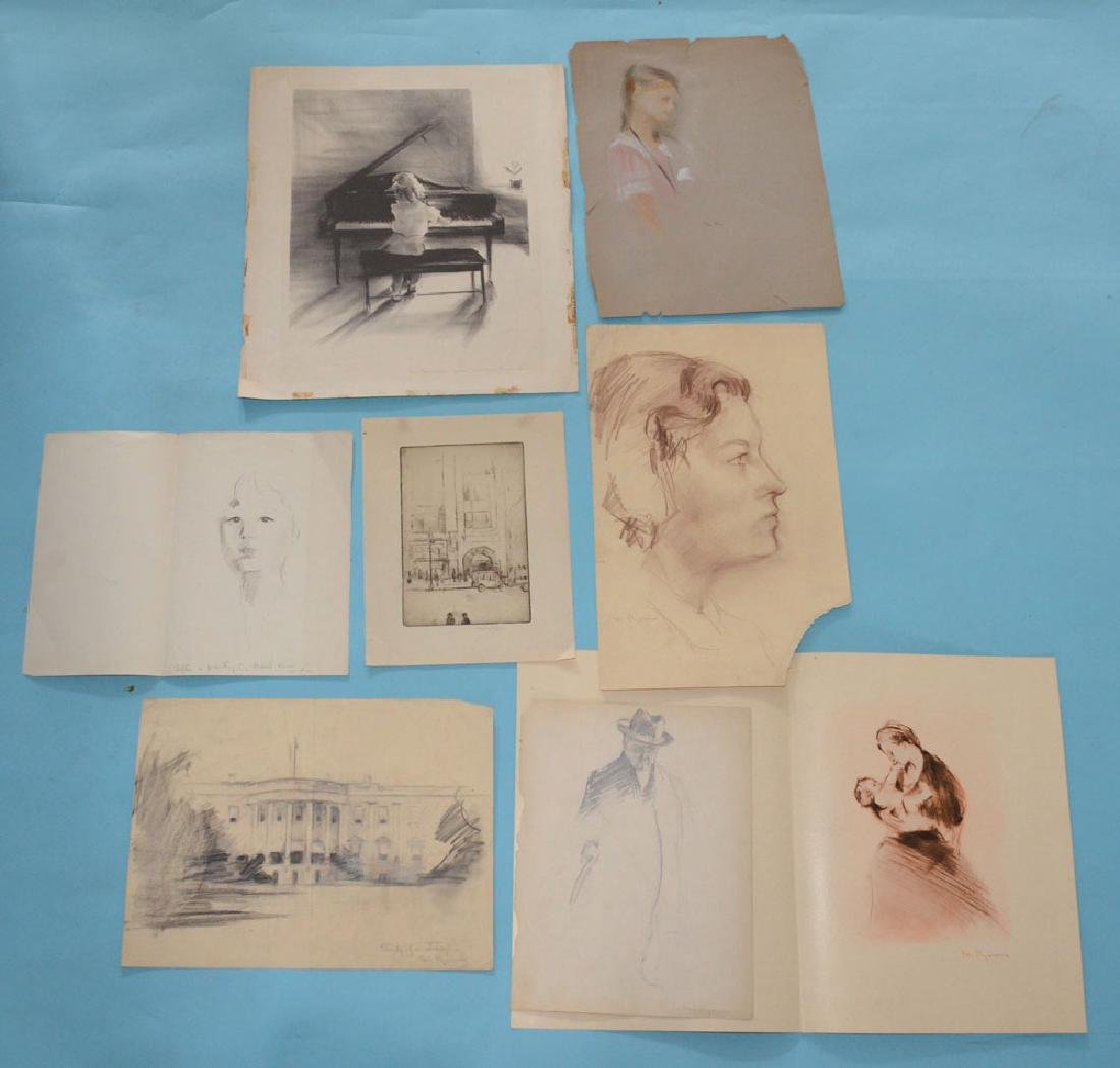 Several Studies And Etchings Signed Margery Ryerson