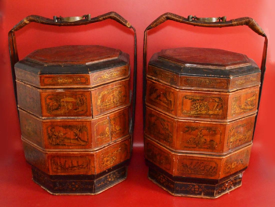 Pr Of Large Antique Colorful Chinese Dowery Baskets