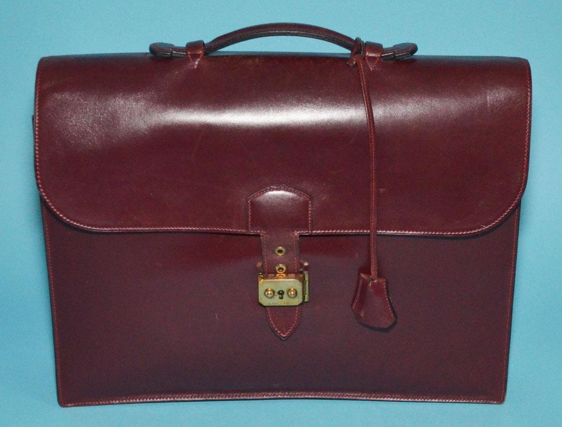 Hermes Burgundy Leather Sac A Depeches Briefcase