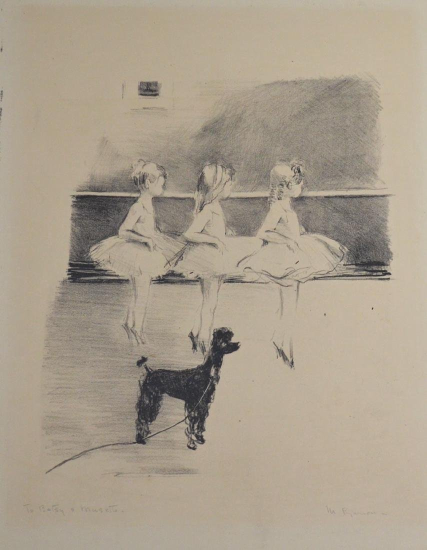 Large Signed Margery Ryerson Etching  Of Ballerinas &