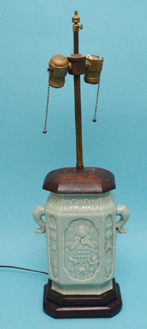 Unusual Antique Chinese Celadon Lamp