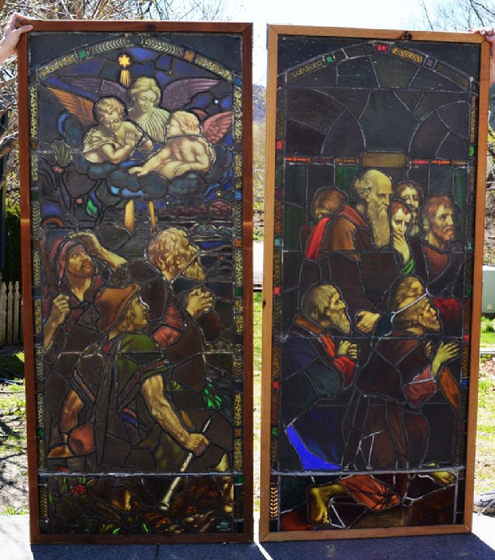 2 Antique Monumental Church Stained Glass Windows
