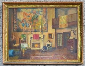 Antique  O/C Painting  Of A Salon Signed James C. Ayer
