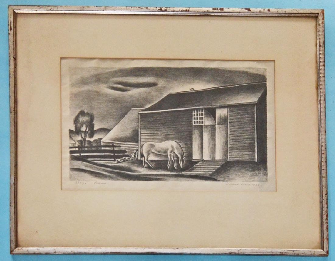 "Ernest Fiene Signed & Numbered Etching ""Barns"""