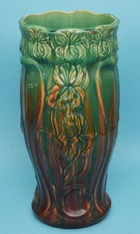 Large Antique Majolica Umbrella Stand w Irises