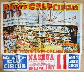 Large Clyde Beatty Cole Bros Circus Poster Nashua
