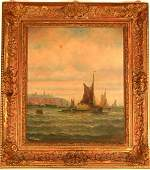 11: O/C Painting Of Harbor Ship signed L. Thornley #2