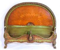 98 Hand Painted Italian Bed With Carved Swan