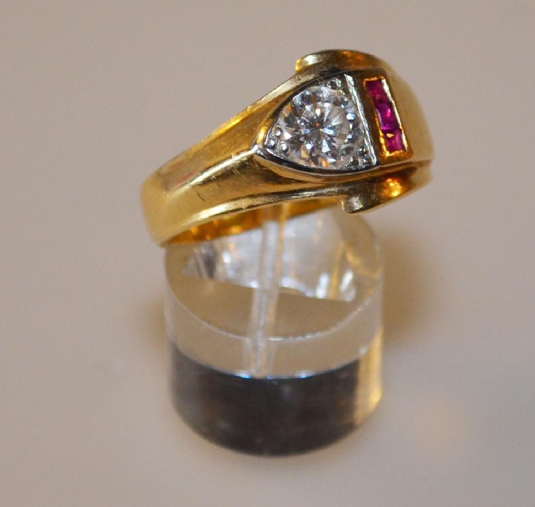 14k Gold Men's 1.5ct Diamond & Ruby Ring