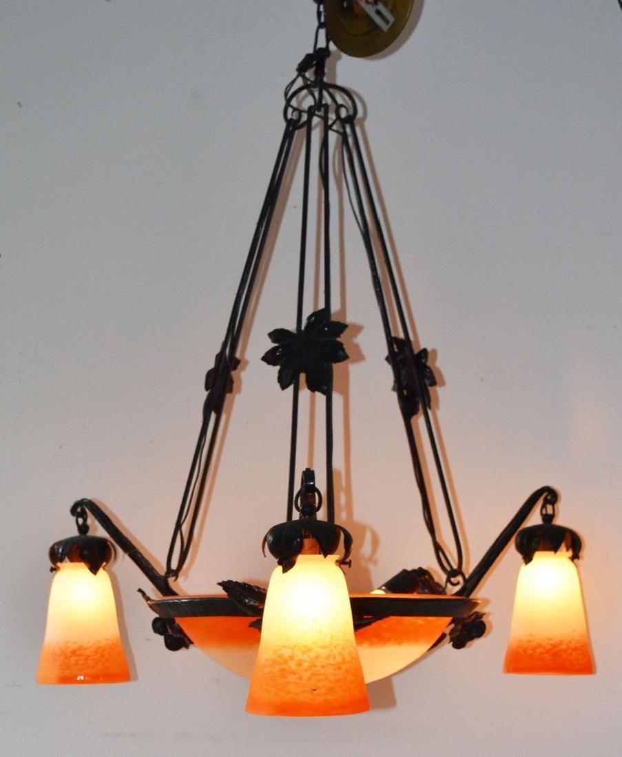 Rethondes Art Glass Orange Ombre Chandelier
