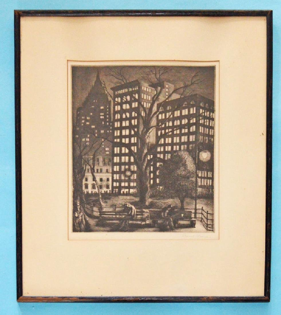 Signed Ernest Fiene Etching Of New York City