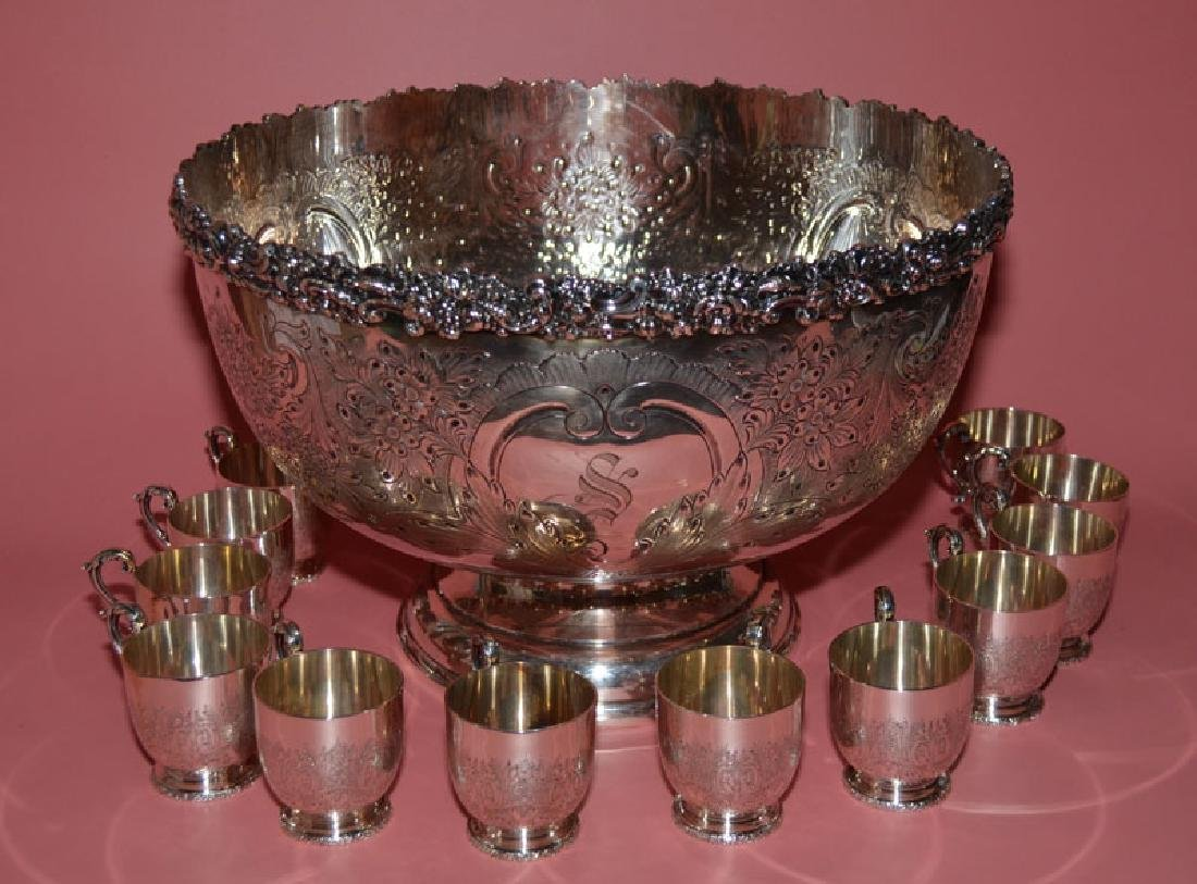 Vintage English Silver Plate Punch Bowl  & 11 Cups