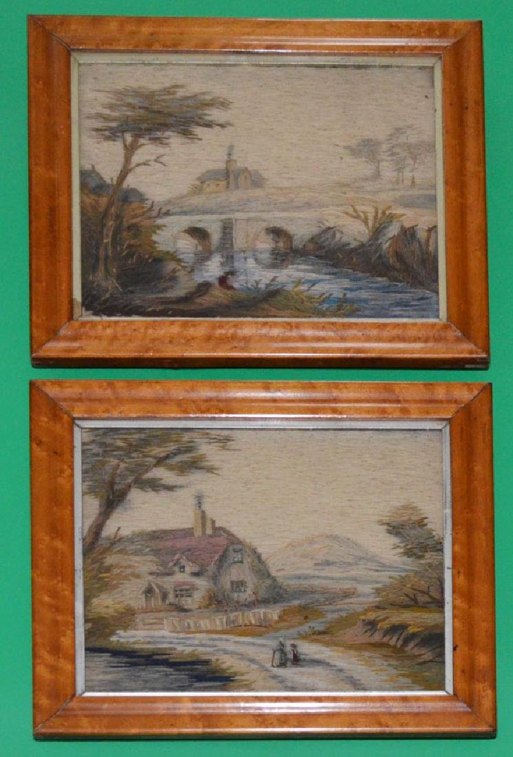 Pair of Framed Antique Stumpwork Embroidery Panels