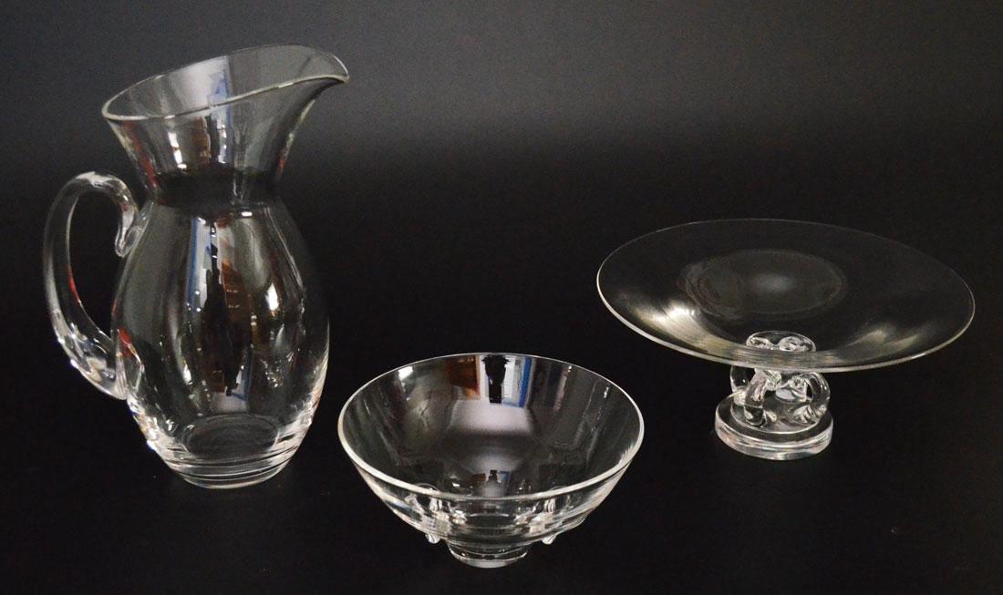 3 pieces of Vintage Steuben ( Pitcher & 2 Bowls )