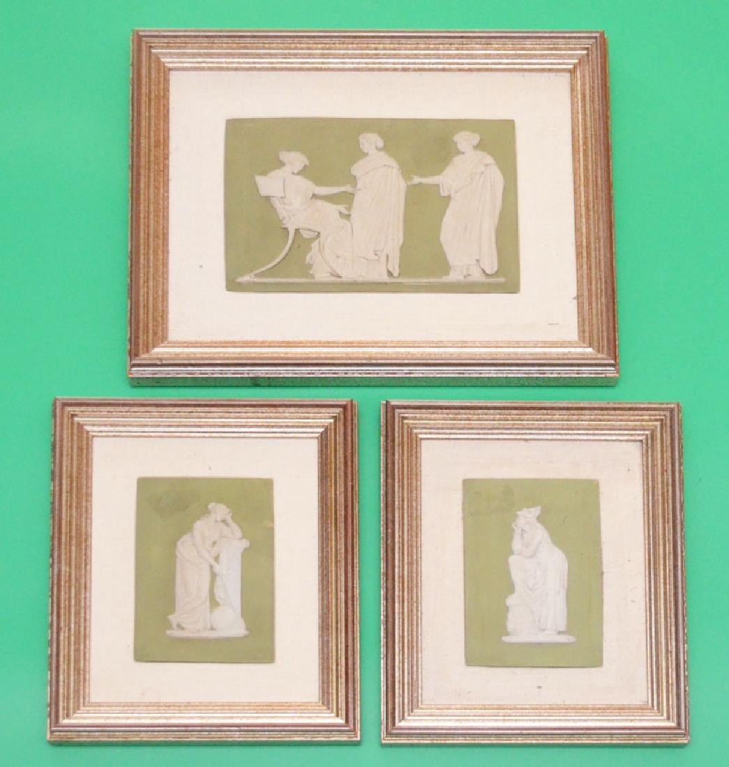 3  Romanesque Antique Jasperware Plaques