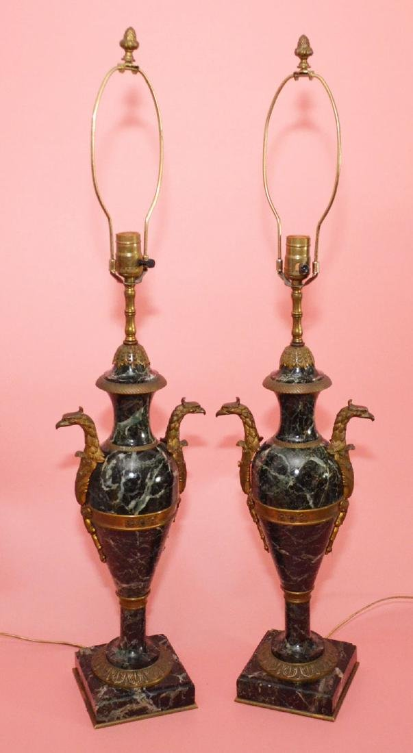 Pr of Gilt Bronze & Marble Eagle Head Lamps