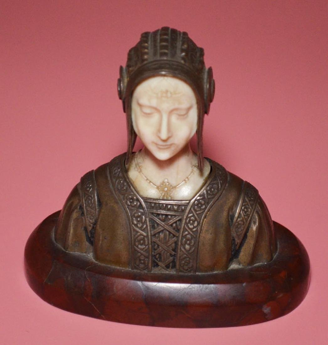 800 Silver & Carved Statuette of a Tudor Woman