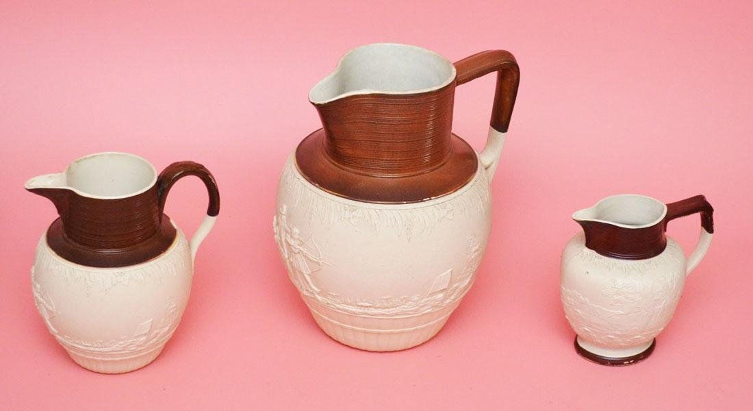 3 Circa 1800 John Turner Stoneware Pitchers