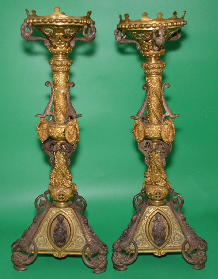 Pair of Ornate Ecclesiastical Gilt Candleholders