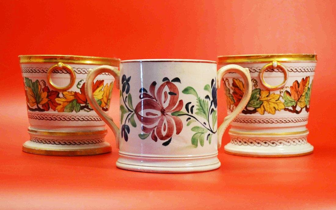 Pr Of Vintage Cachepots And an Unusual loving cup