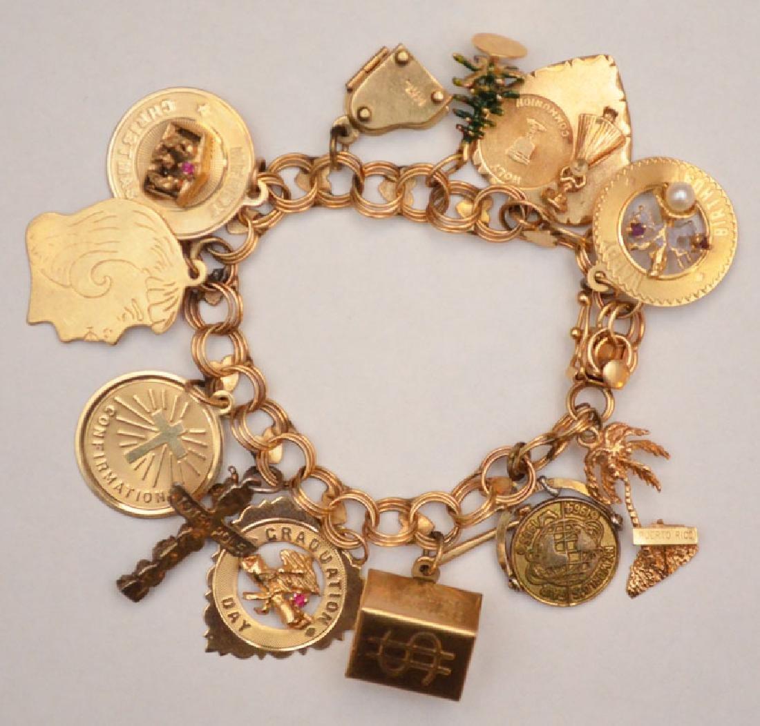 Wonderful 14K Gold Charm Bracelet With 12 Charms