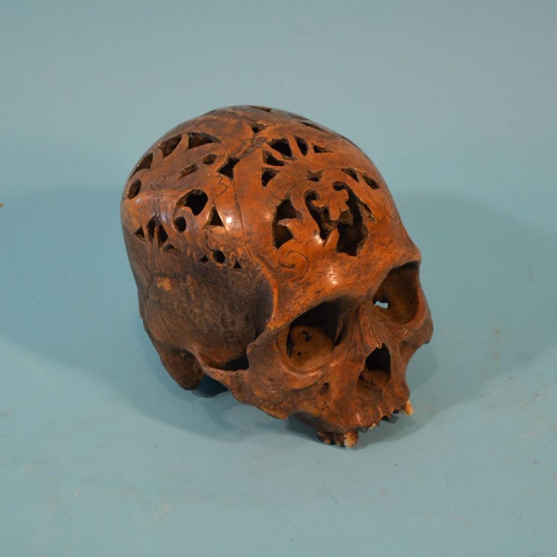 Carved Dayak Headhunting Trophy Skull