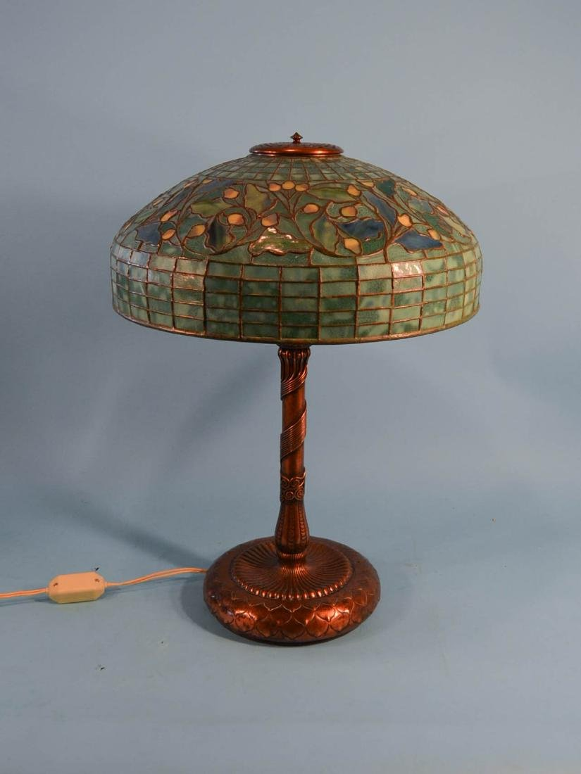 Tiffany Studios Acorn & Oak Leaf Stained Glass Lamp - 14