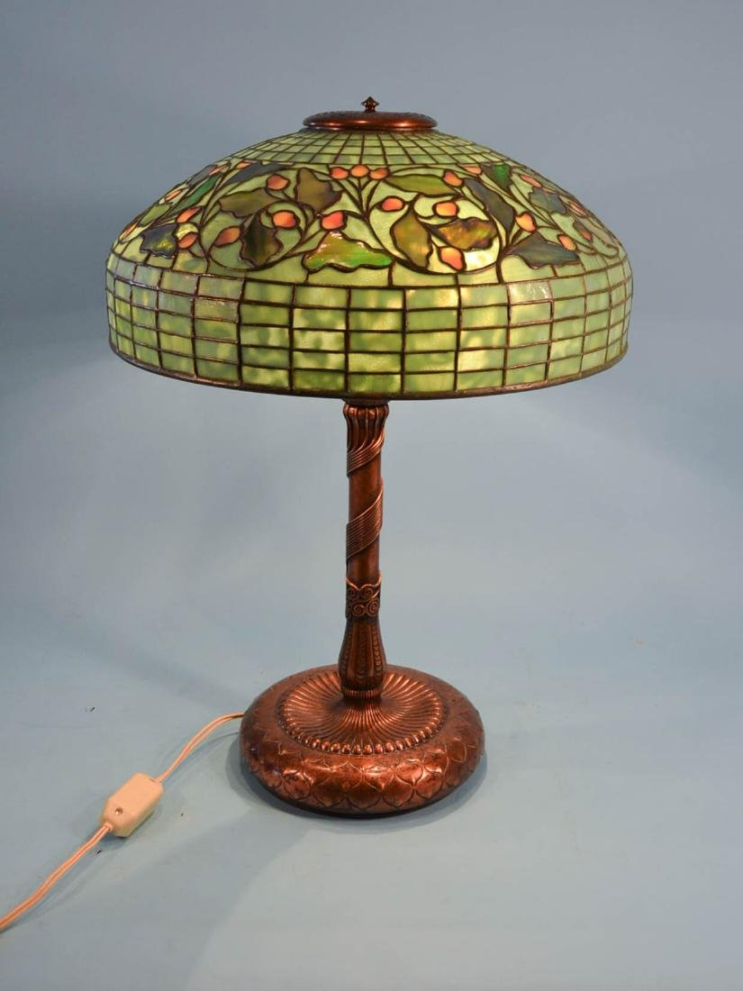 Tiffany Studios Acorn & Oak Leaf Stained Glass Lamp