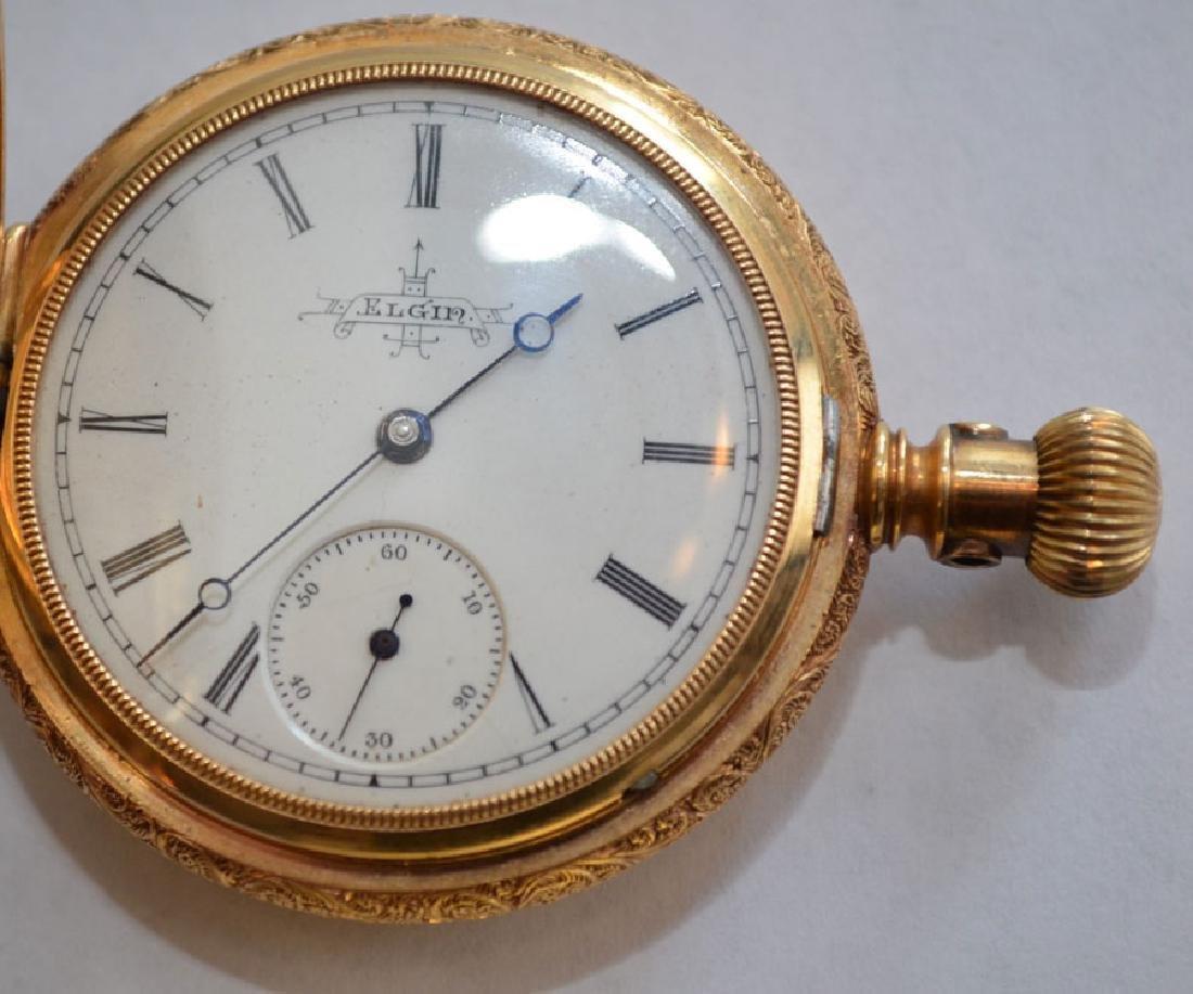 18k Gold Hunter Case  Elgin Pocket Watch - 3
