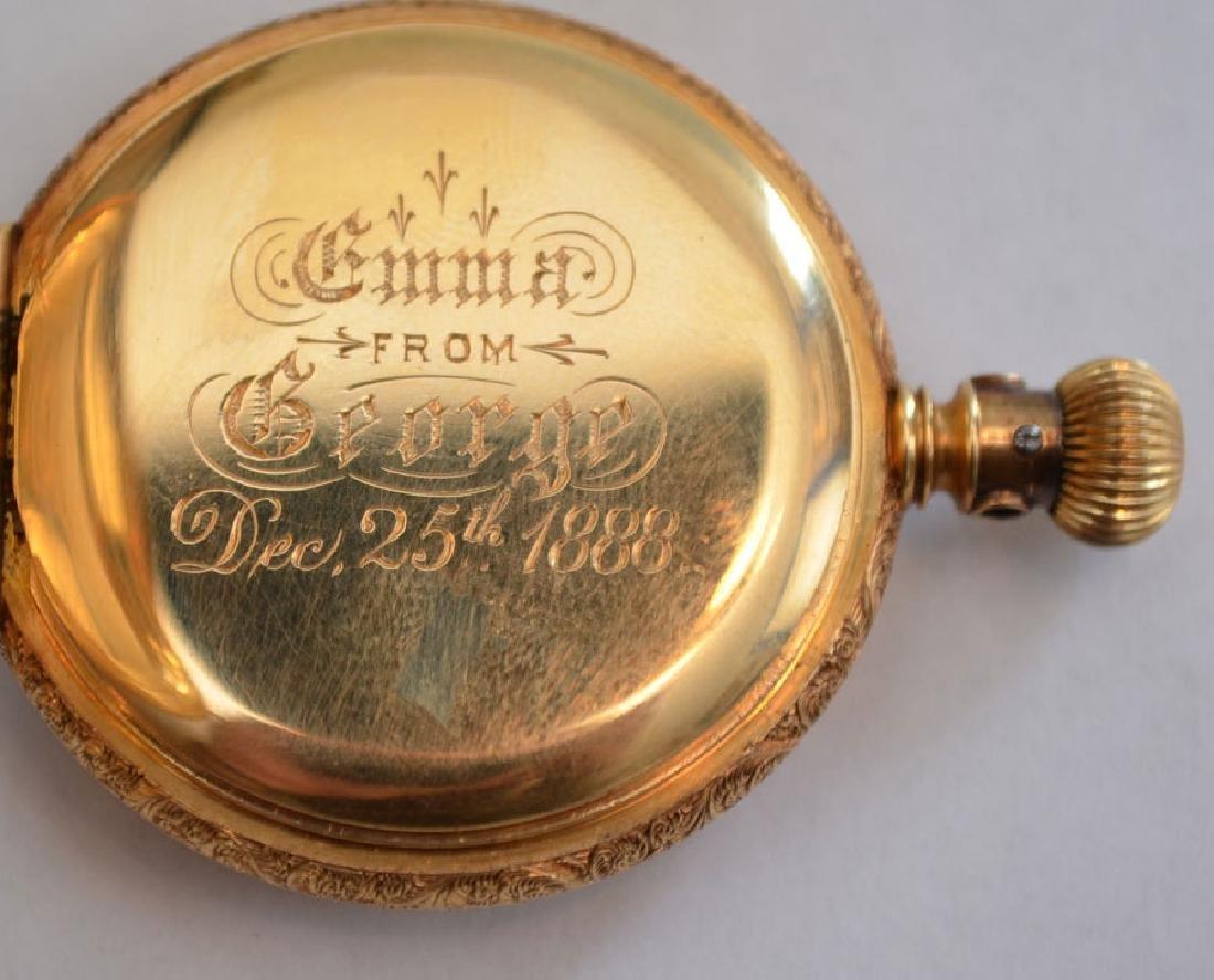 18k Gold Hunter Case  Elgin Pocket Watch - 5