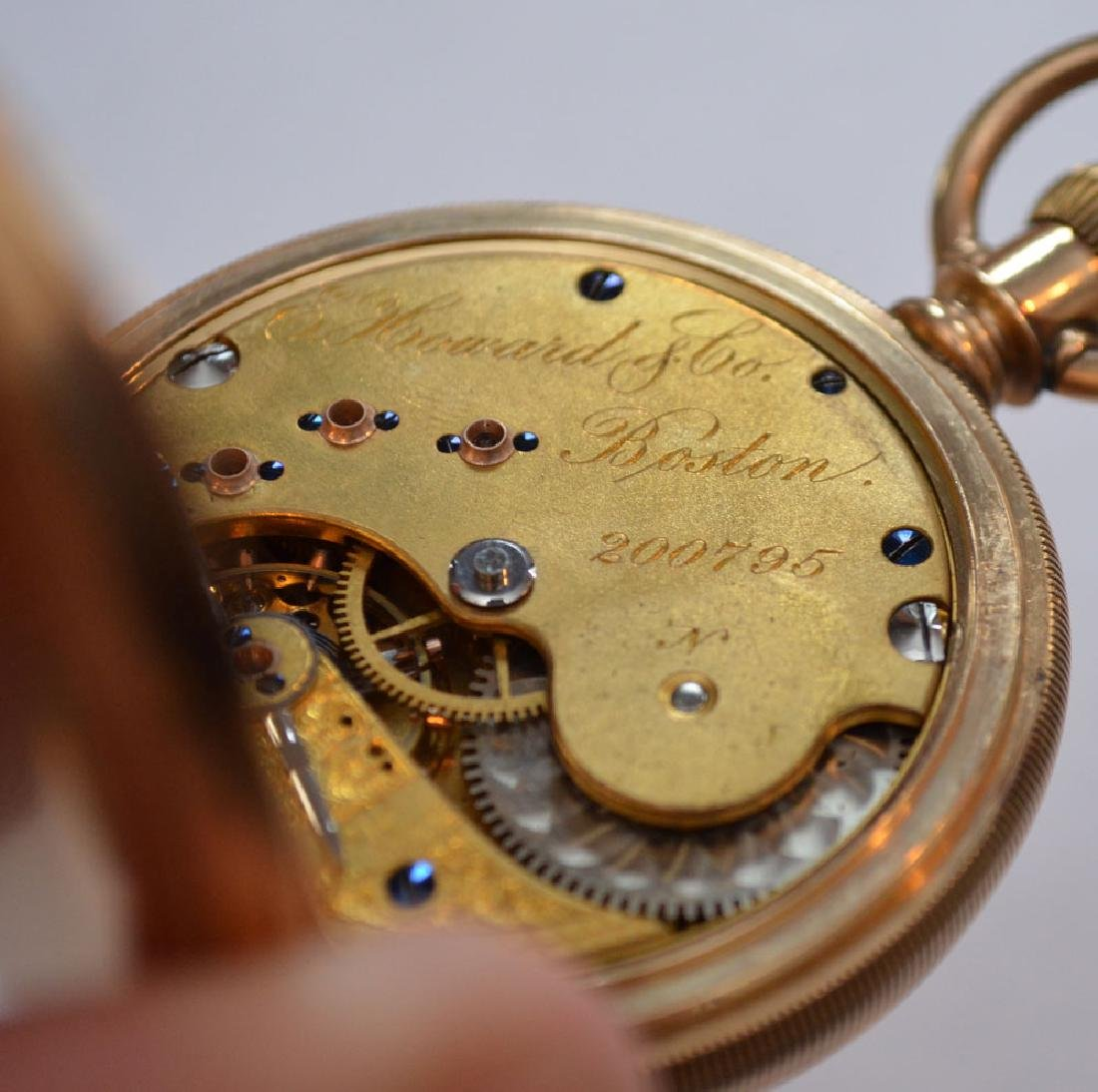 E. Howard Boston 14k Gold Hunter Case Pocket Watch - 4