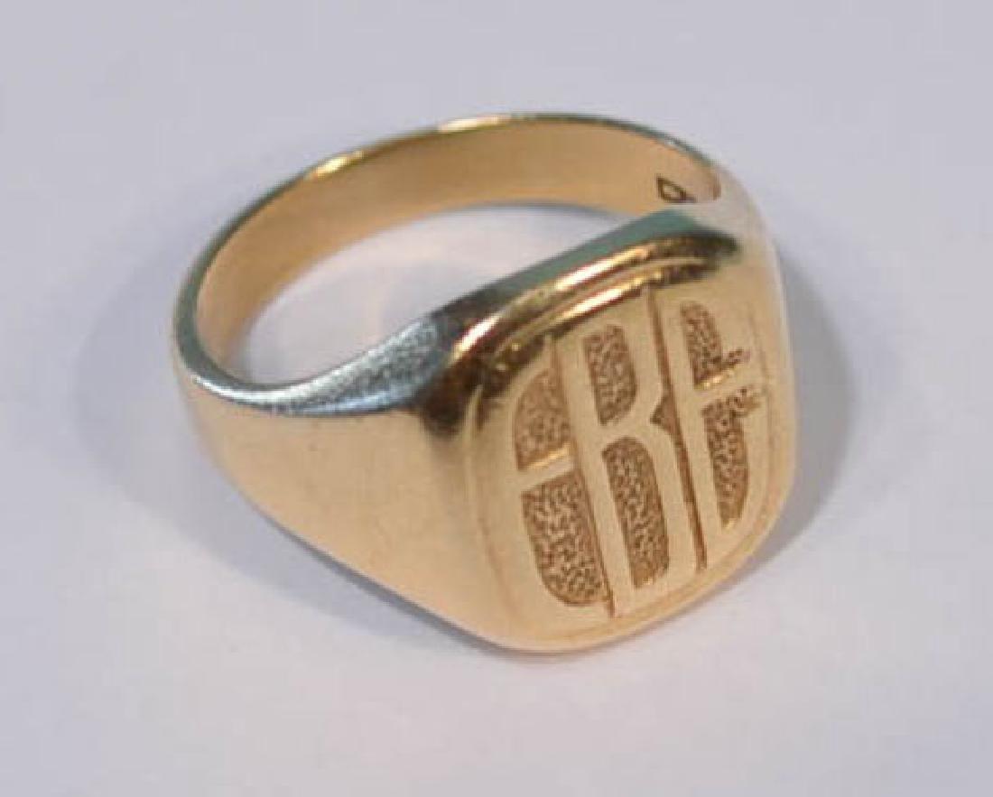 14k Heavy Gold  Monogrammed Men's Ring